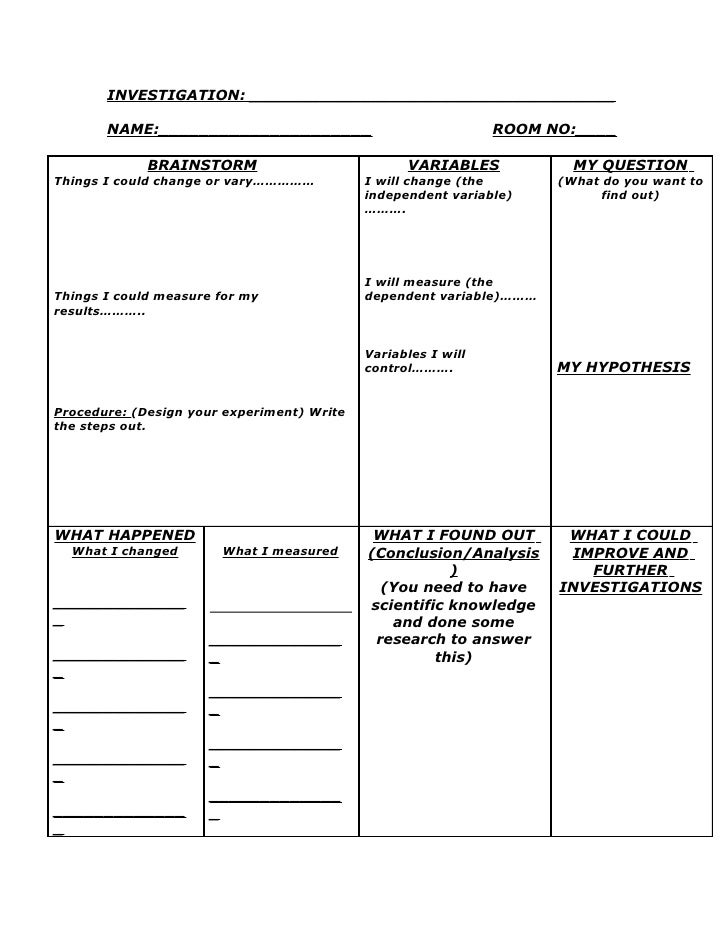 experiment report template ks2