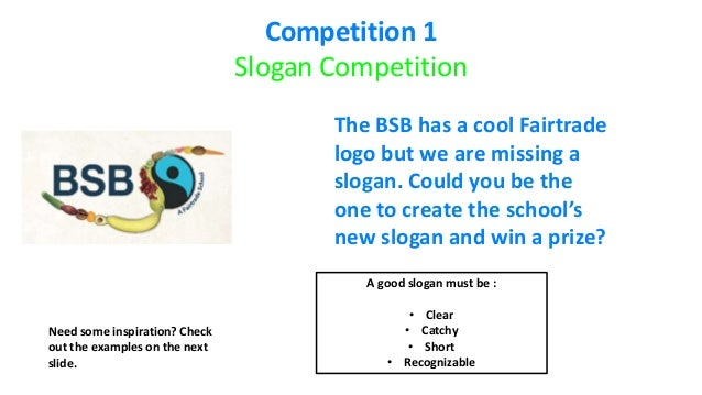Fairtrade fortnight slogan & mascot competition