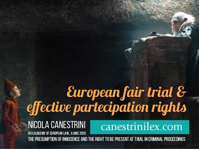 European fair trial & effective partecipation rights Nicola Canestrini ERA Academy of European Law , 9 JUNE 2020 The presum...