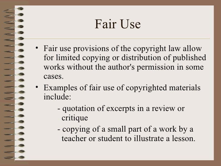 Image result for examples of fair use students