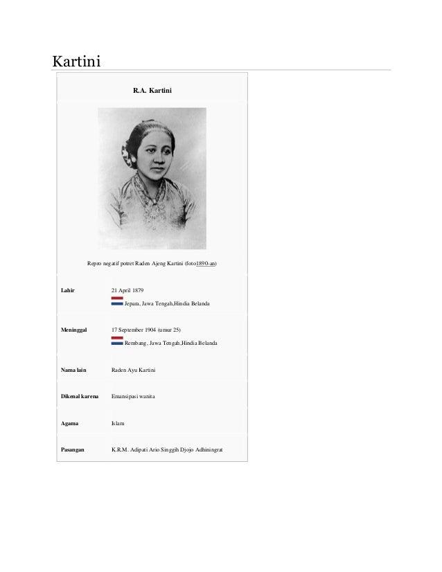 Kartini R.A. Kartini Repro negatif potret Raden Ajeng Kartini (foto1890-an) Lahir 21 April 1879 Jepara, Jawa Tengah,Hindia...