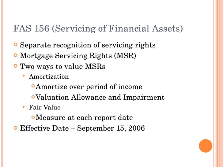 Accounting For Mortgage Servicing Rights