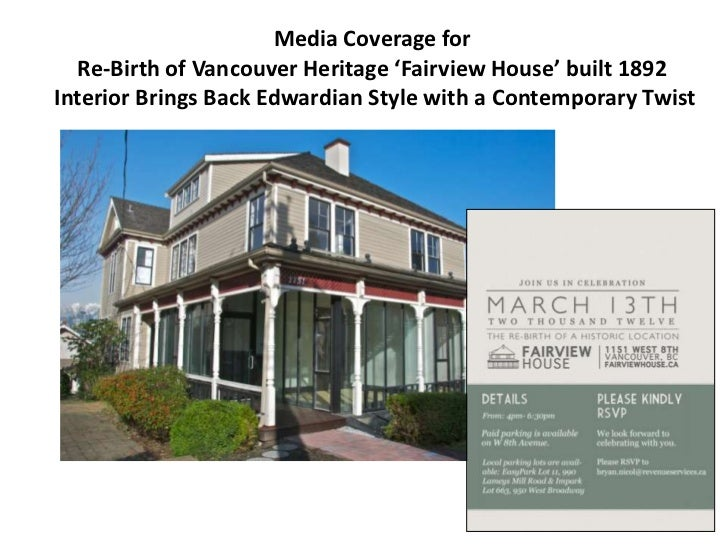 Media Coverage for  Re-Birth of Vancouver Heritage 'Fairview House' built 1892Interior Brings Back Edwardian Style with a ...