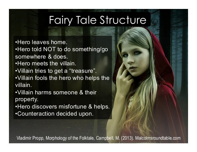 Fairy Tale Structure Vladimir Propp, Morphology of the Folktale, Campbell, M. (2013). Malcolmsroundtable.com • Hero leaves...
