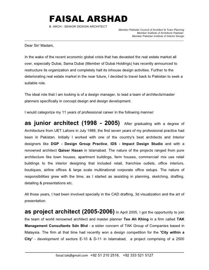 Cover Letter Sample Architecture