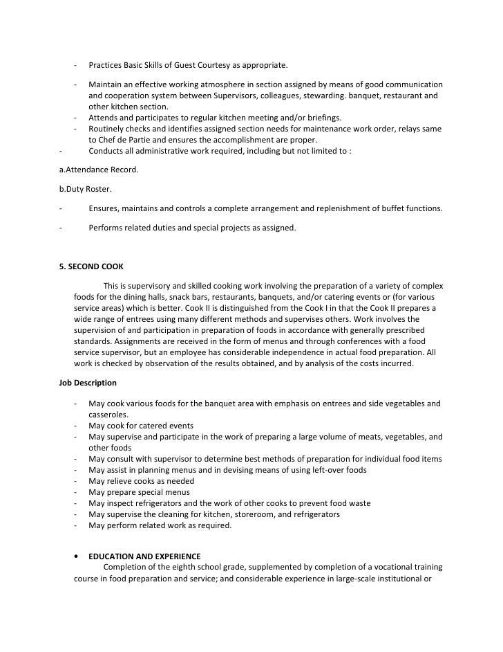 5 - Banquet Job Description