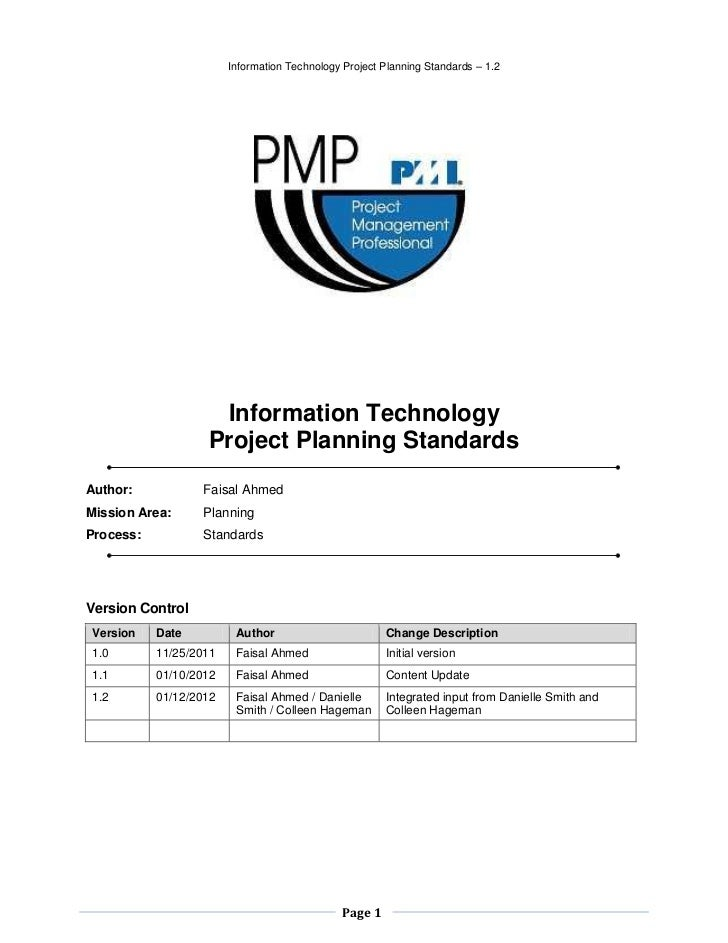 Information Technology Project Planning Standards – 1.2                    Information Technology                   Projec...