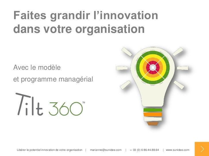 Faites grandir l'innovationdans votre organisationAvec le modèleet programme managérial Libérer le potentiel innovation de...