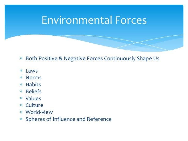Both Positive & Negative Forces Continuously Shape Us<br />Laws<br />Norms<br />Habits<br />Beliefs<br />Values<br />Cultu...