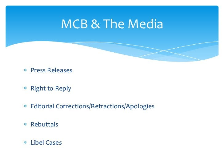 Press Releases<br />Right to Reply<br />Editorial Corrections/Retractions/Apologies<br />Rebuttals<br />Libel Cases<br />M...