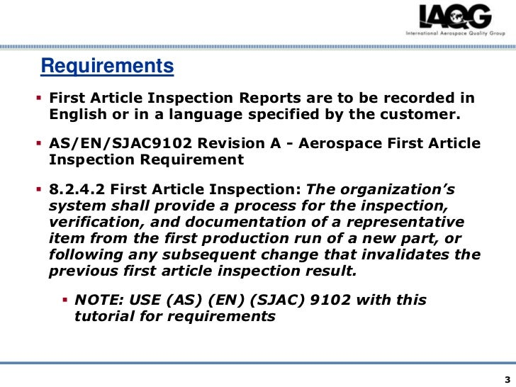 First article inspection for First article inspection procedure template