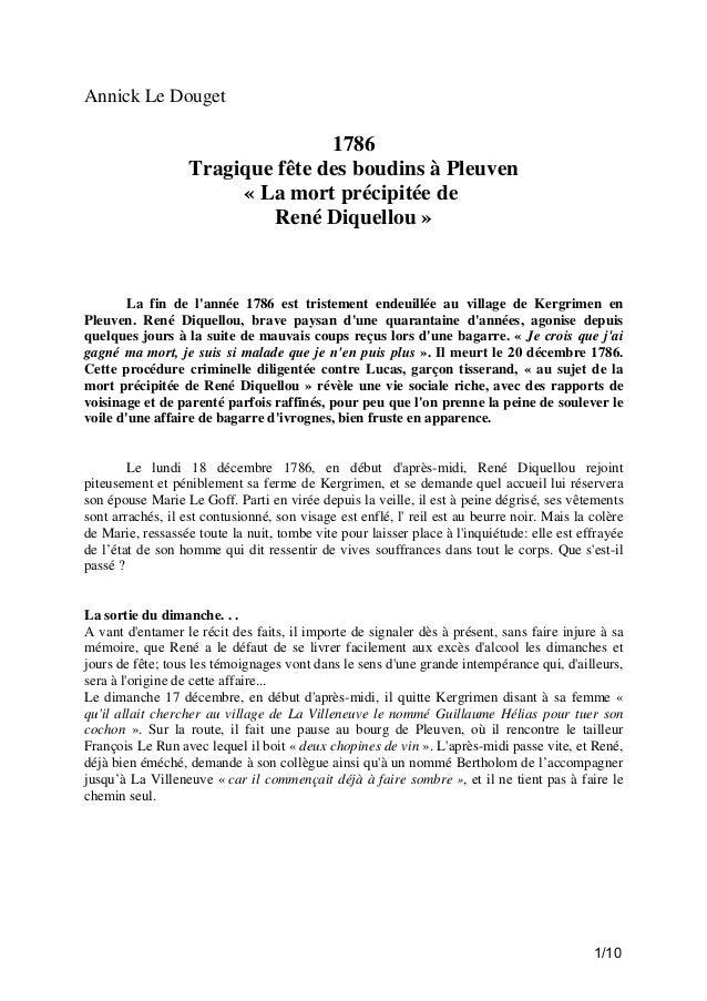 Annick Le Douget  1786 Tragique fête des boudins à Pleuven « La mort précipitée de René Diquellou »  La fin de l'année 178...