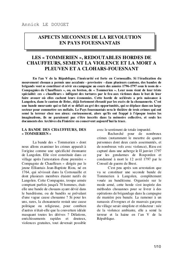 Annick LE DOUGET ASPECTS MECONNUS DE LA REVOLUTION EN PAYS FOUESNANTAIS LES « TOMMERIEN », REDOUTABLES HORDES DE CHAUFFEUR...