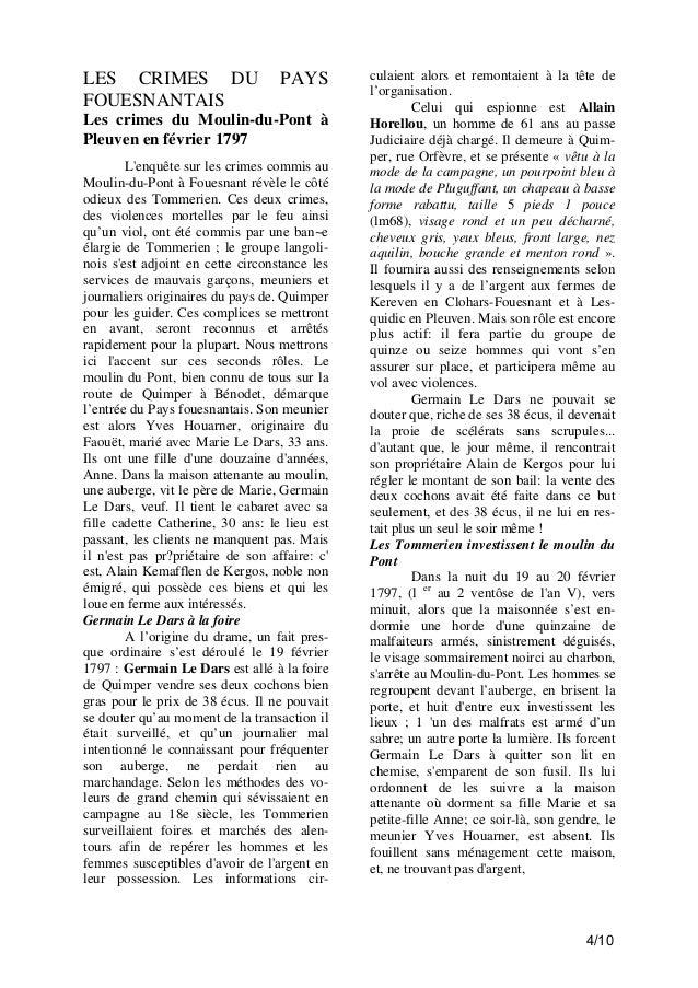 LES CRIMES DU FOUESNANTAIS  PAYS  Les crimes du Moulin-du-Pont à Pleuven en février 1797 L'enquête sur les crimes commis a...