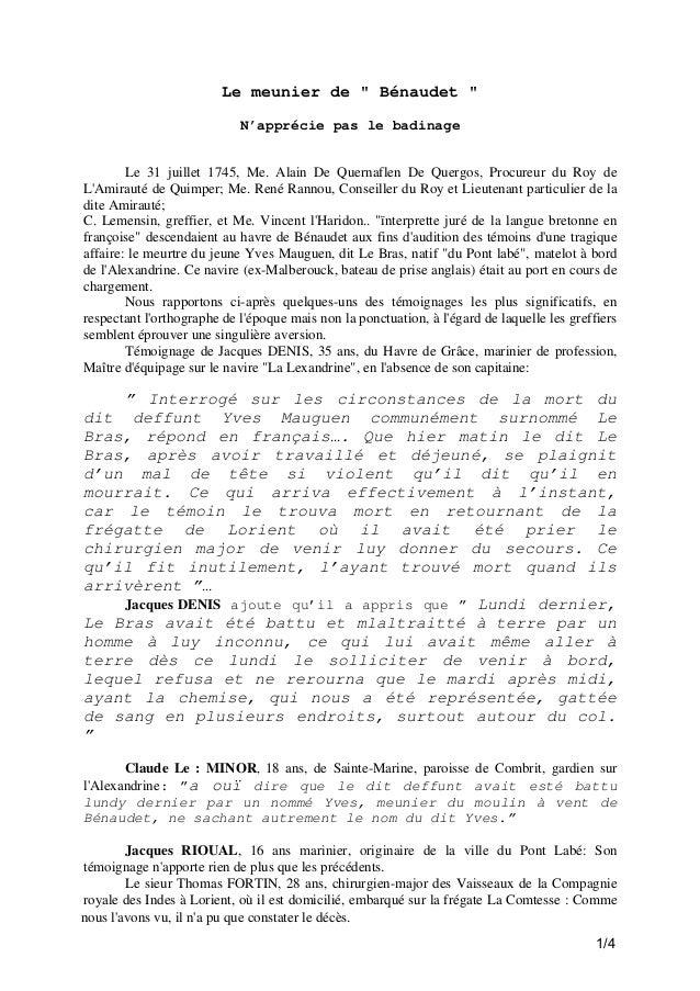 """Le meunier de """" Bénaudet """" N'apprécie pas le badinage Le 31 juillet 1745, Me. Alain De Quernaflen De Quergos, Procureur du..."""