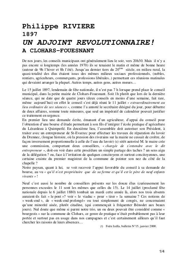 Philippe RIVIERE 1897  UN ADJOINT REVOLUTIONNAIRE! A CLOHARS-FOUESNANT De nos jours, les conseils municipaux ont généralem...