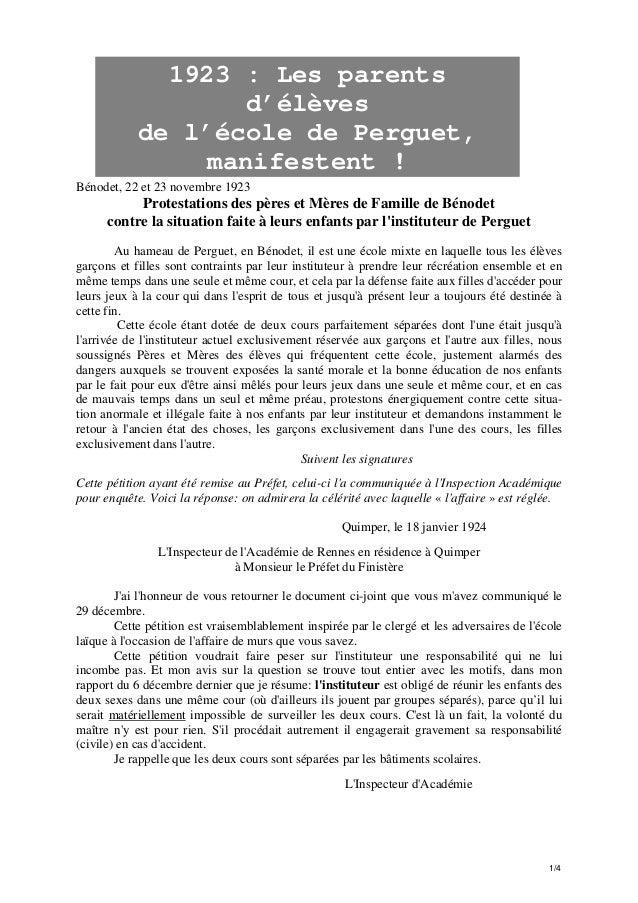 1923 : Les parents d'élèves de l'école de Perguet, manifestent ! Bénodet, 22 et 23 novembre 1923  Protestations des pères ...