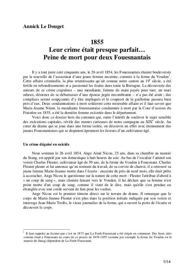 Annick Le Douget  1855 Leur crime était presque parfait… Peine de mort pour deux Fouesnantais Il y a tout juste cent cinqu...
