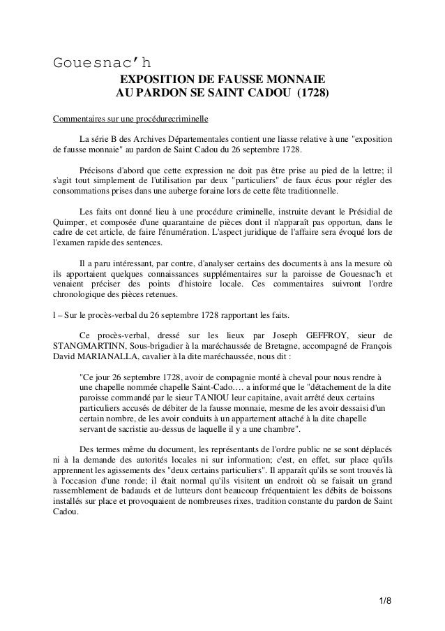 Gouesnac'h EXPOSITION DE FAUSSE MONNAIE AU PARDON SE SAINT CADOU (1728) Commentaires sur une procédurecriminelle La série ...