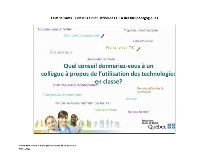 Faits saillants – Conseils à l'utilisation des TIC à des fins pédagogiques                                                ...