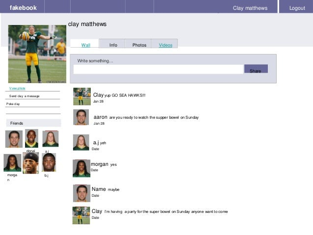 Fakebook Clay Matthews Logout Vvew Phote Send A Message Poke Wall Info