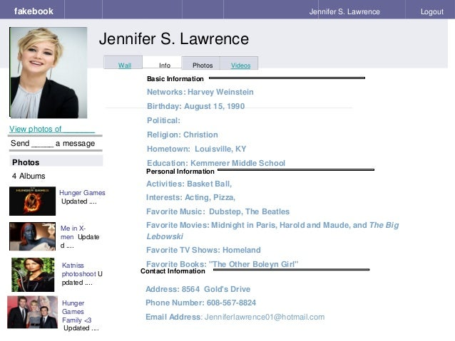 Fake book template 2 3 personal information fakebook pronofoot35fo Gallery