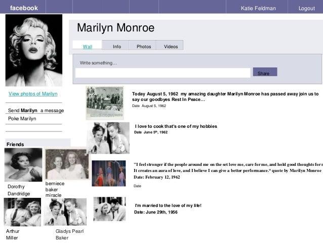 Fake book template facebook facebook marilyn monroe katie feldman logout view photos of marilyn send marilyn a message poke marilyn maxwellsz