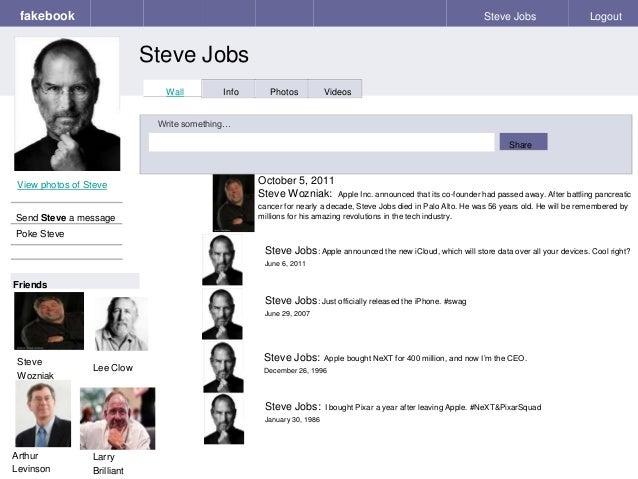 Fakebook Steve Jobs Logout View Photos Of Send A Message Poke