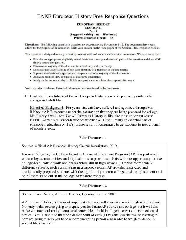 2009 ap european history essay questions 2009–2010 ap® exam formats  advanced placement program, ap,  european history 50% section i same same 80 questions.