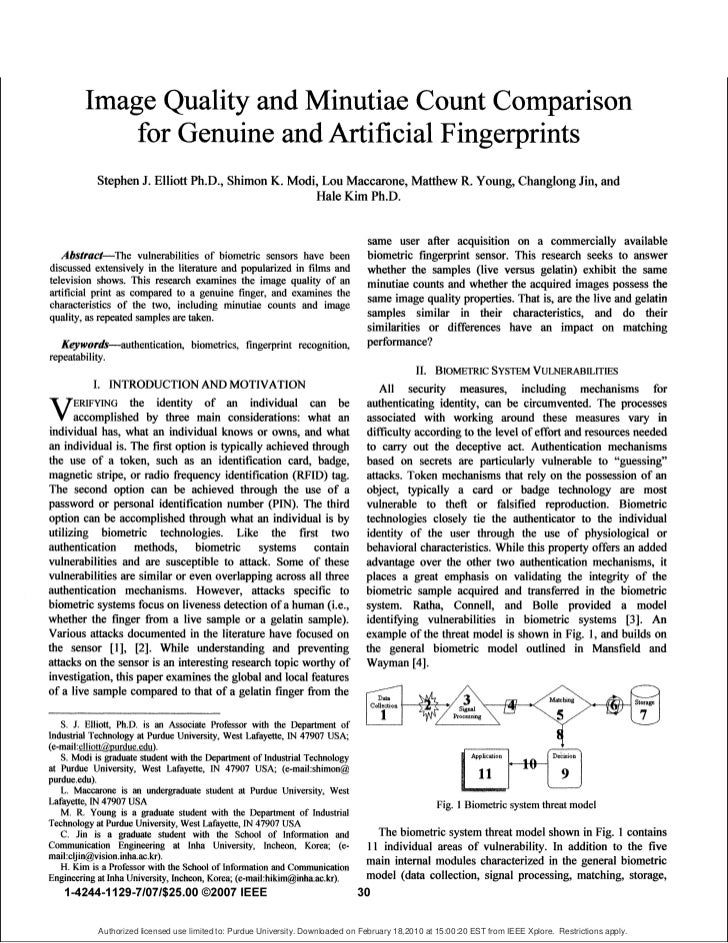 Image Quality and Minutiae Count Comparison              for Genuine and Artificial Fingerprints             Stephen J. El...
