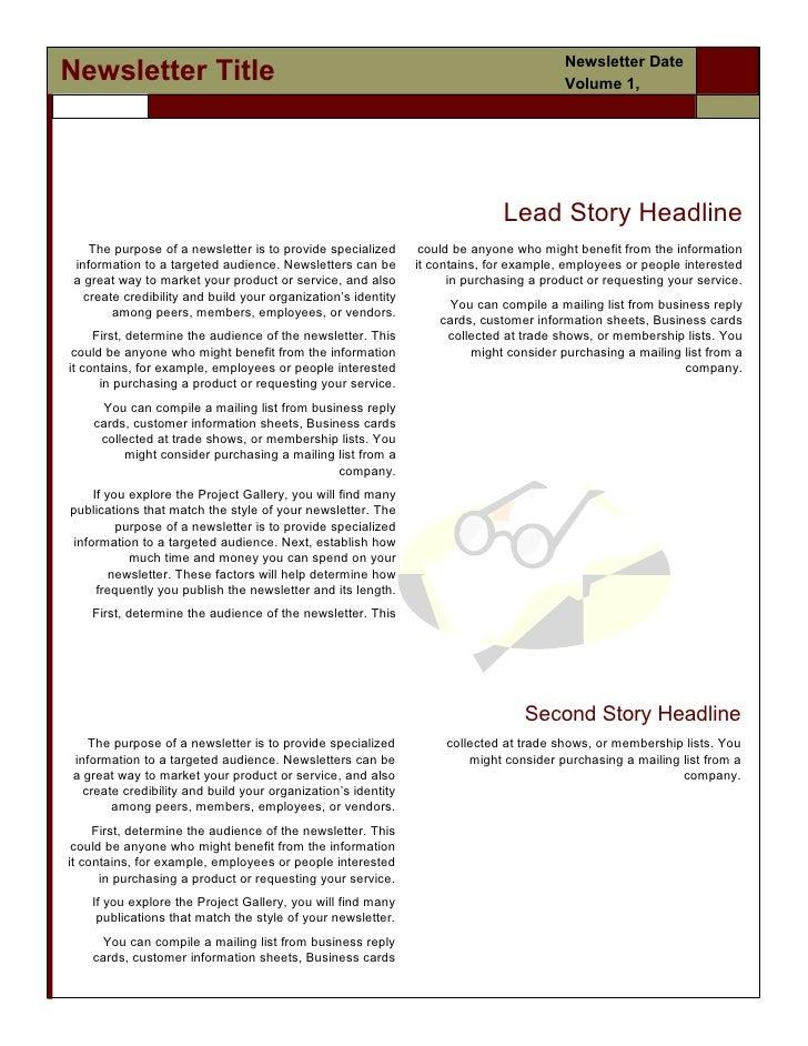 Newsletter DateNewsletter Title                                                                         Volume 1,         ...