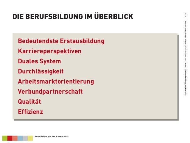 DIE BERUFSBILDUNG IM ÜBERBLICK 7.1.1BerufsbildunginderSchweiz2015/FaktenundZahlen/DieBerufsbildungimÜberblick Bedeutendst...