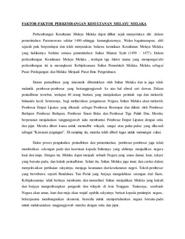 Faktor Kegemilangan Kesultanan Melayu Melaka Tingkatan 2
