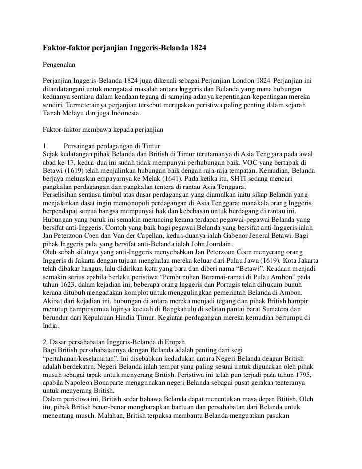 Faktor2 Perjanjian Inggeris Belanda