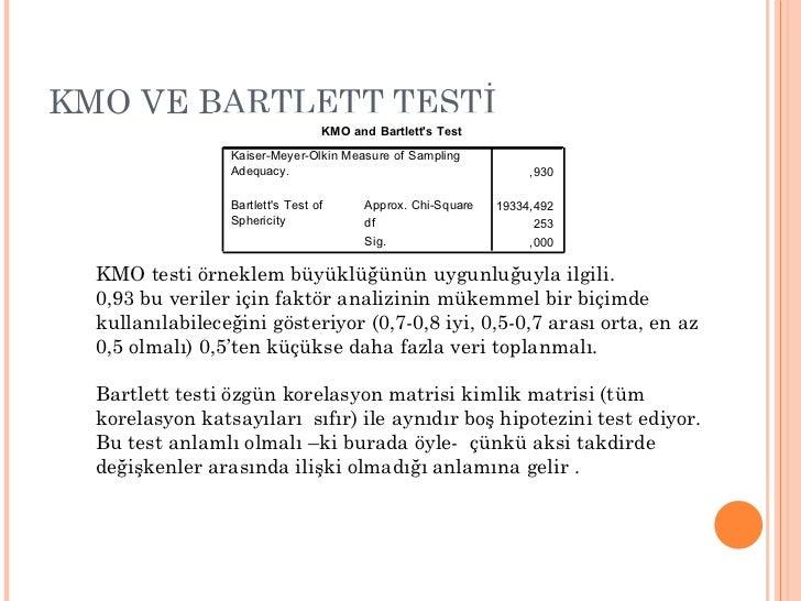 KMO VE BARTLETT TESTİ KMO testi örneklem büyüklüğünün uygunluğuyla ilgili.  0,93 bu veriler için faktör analizinin mükemme...