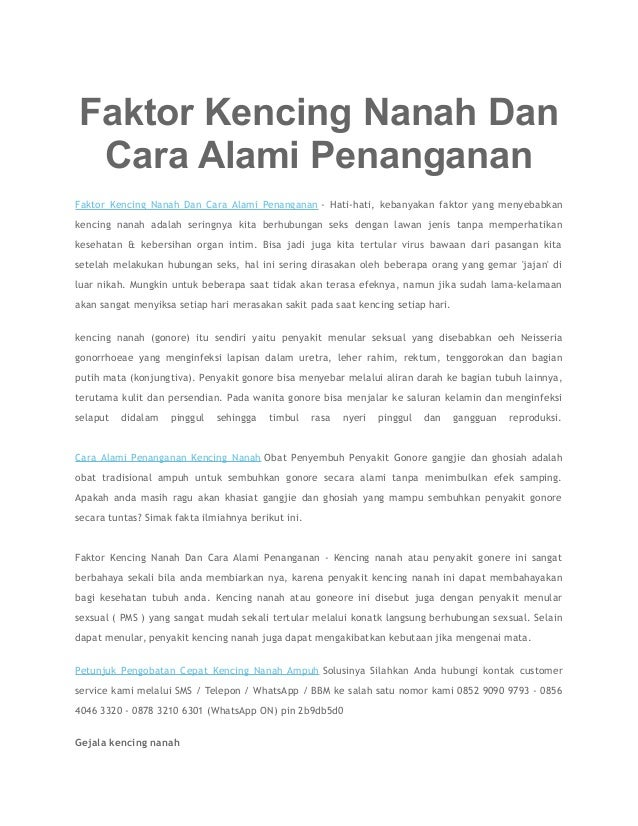 Faktor Kencing Nanah Dan Cara Alami Penanganan Faktor Kencing Nanah Dan Cara Alami Penanganan - Hati-hati, kebanyakan fakt...
