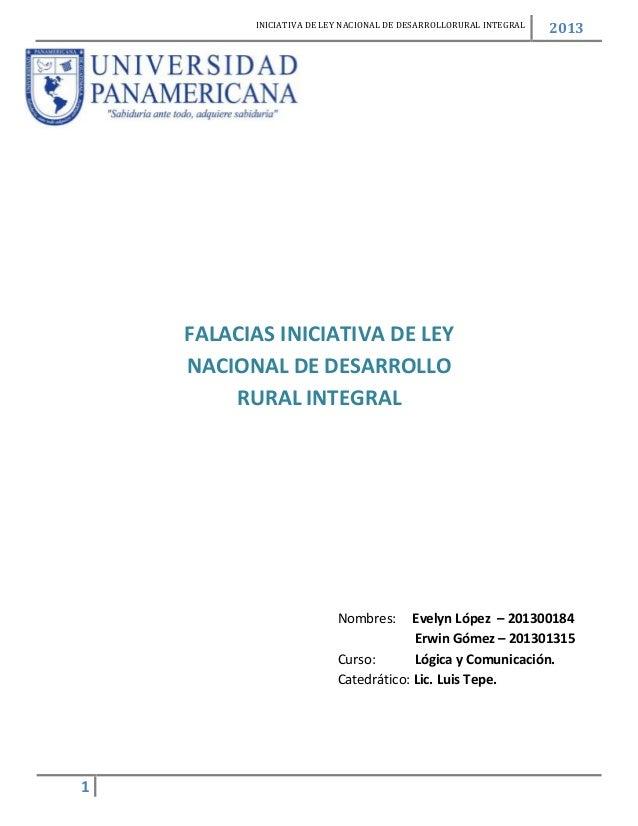 INICIATIVA DE LEY NACIONAL DE DESARROLLORURAL INTEGRAL                                                                   2...