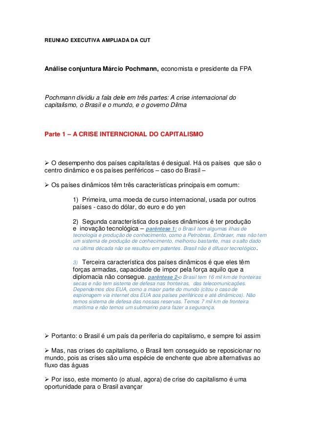 REUNIAO EXECUTIVA AMPLIADA DA CUT Análise conjuntura Márcio Pochmann, economista e presidente da FPA Pochmann dividiu a fa...