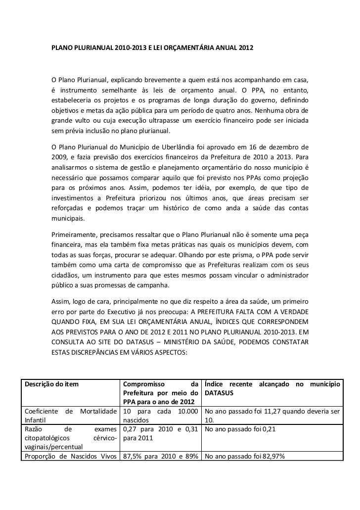Plano Plurianual 2010-2013 x Lei Orçamentária Anual 2012