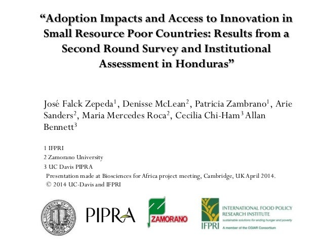 """""""Adoption Impacts and Access to Innovation in Small Resource Poor Countries: Results from a Second Round Survey and Instit..."""