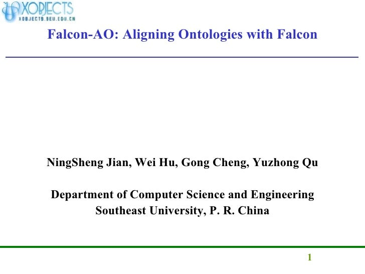 Falcon-AO: Aligning Ontologies with Falcon <ul><li>NingSheng Jian, Wei Hu, Gong Cheng, Yuzhong Qu </li></ul><ul><li>Depart...