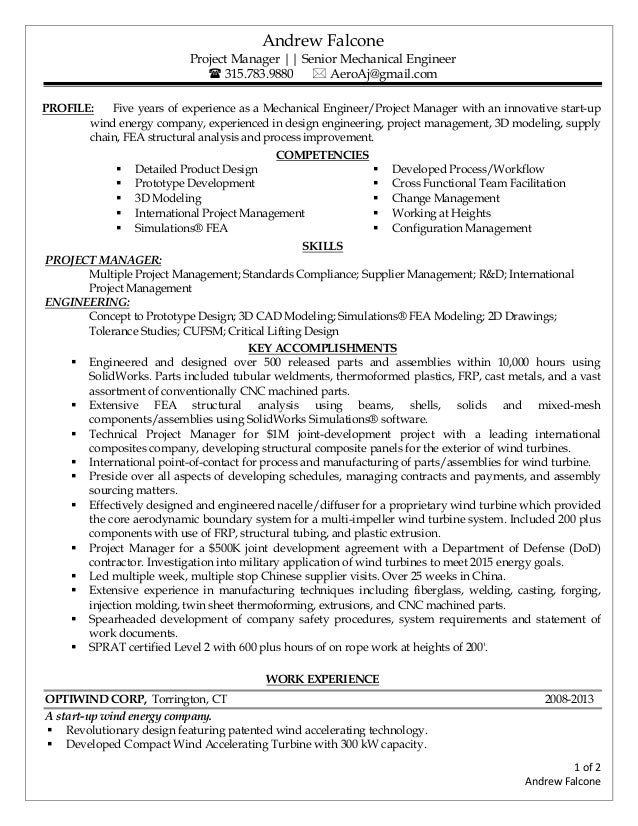 senior mechanical engineer resumes