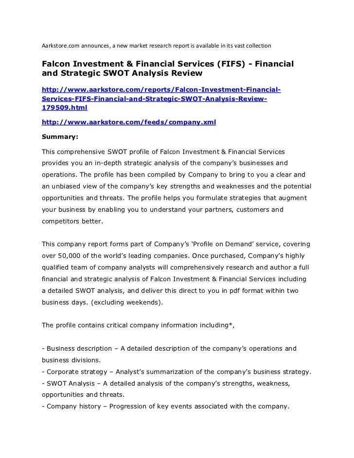 Falcon investment & financial services (fifs) financial and strateg…