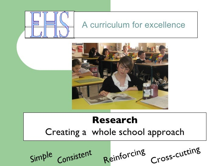 A curriculum for excellence Research Creating a  whole school approach Simple Consistent  Reinforcing Cross-cutting