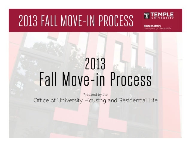 2013 Fall Move-in Process Prepared by the Office of University Housing and Residential Life