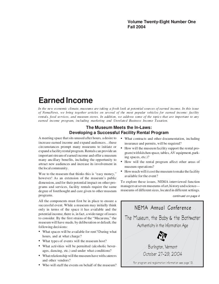 Volume Twenty-Eight Number One                                                                   Fall 2004Earned IncomeIn ...