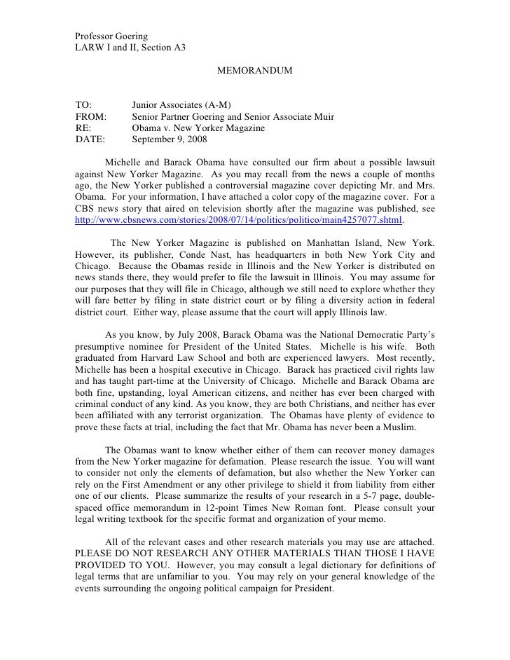 Professor GoeringLARW I and II, Section A3                                    MEMORANDUMTO:           Junior Associates (A...
