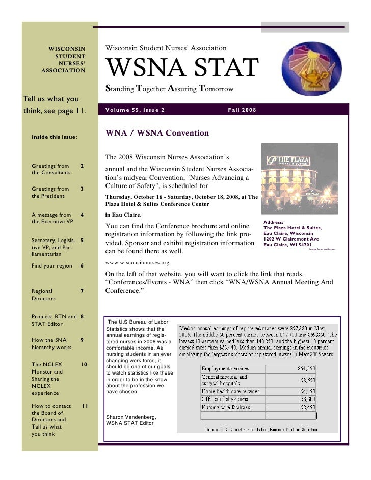 Wisconsin Student Nurses' Association        WISCONSIN                                WSNA STAT          STUDENT          ...