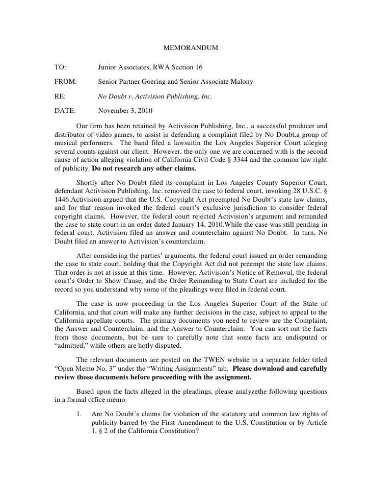 MEMORANDUMTO:            Junior Associates, RWA Section 16FROM:          Senior Partner Goering and Senior Associate Malon...