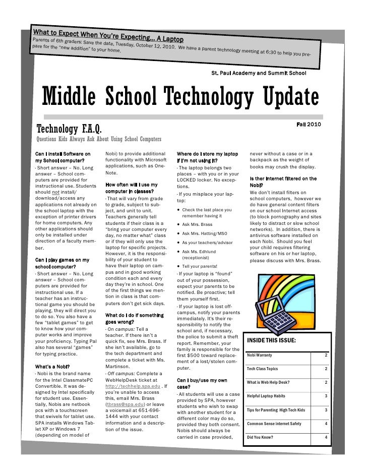 SPA Middle SchoolFall 2010 tech update